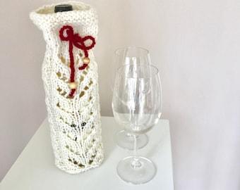 Wine Cozy -Wine Bottle Sleeve-Hand Knit Wine Cozy - White Bottle Sleeve - House Warming Gift -Wine Bag - Hostees Gift - Wedding Shower Favor