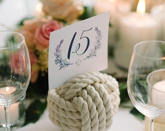 Nautical Wedding - Cotton Rope Knots - Wedding Table Number Holders - Knots - Table Knots - Rope Knots - (this is for 10 knots)