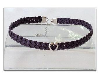BDSM Day Collar, BDSM Collar, Submissive Collar, Discreet Day Collar, Slave Collar, Purple Leather BDSM Heart Collar Choker