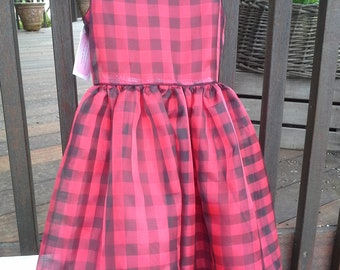 Red Checked Organza Dress