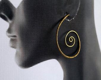 Hoop earrings - wirewrapped spiral - statement earrings