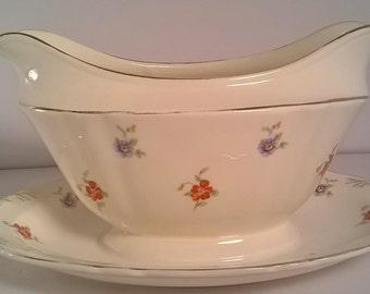 Vintage Crown Potteries Co. Gravy Boat