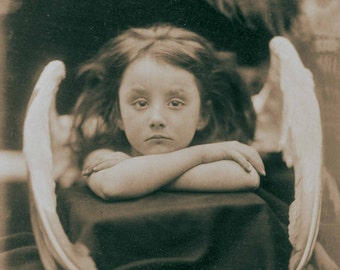 Vintage photo angel art photography print antique photograph little girl angel wings 1900s sepia