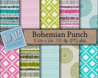 Bohemian Pattern Digital Paper - Bright Colored Patterns - Digital Paper - Instant Download Seamless Printable Background for Personal Use