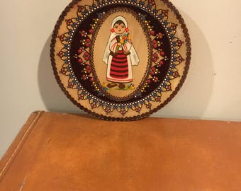 Vintage wood hand painted Romania plate, stamped