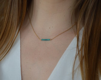 Necklace turquoise chain bar gold filled * 14 k