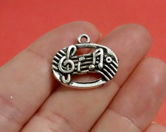 50 Bulk, Music Notes Charms 18x21x3mm, Hole: 2mm