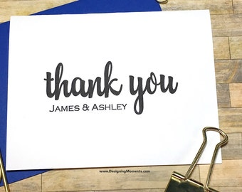 Personalized Thank You Cards - Couples Gift Wedding Thank You Note Cards - Wedding Stationery - Calligraphy Stationary- Thank You DM133