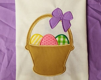Easter Basket Eggs GirlBow Design File for Embroidery Machine Applique Instant Download
