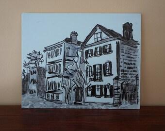 Original  historical Charleston SC watercolor, Charleston artwork, blue South Carolina art,colonial architecture wall art,Charelston picture