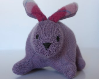 Bunny: stuffed  - light purple plush, wool rabbit made from repurposed, felted wool sweaters  Perfect for Easter!