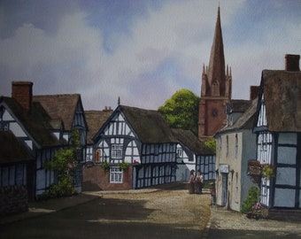 Original Watercolour Painting of English Village Weobley Village Herefordshire scene