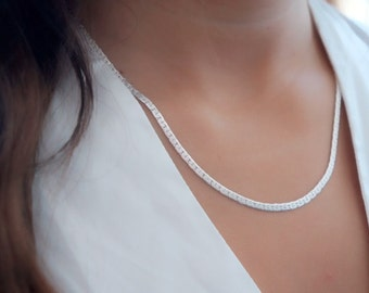 Dainty Silver necklace layered everyday chain necklace  delicate silver plated jewelry.