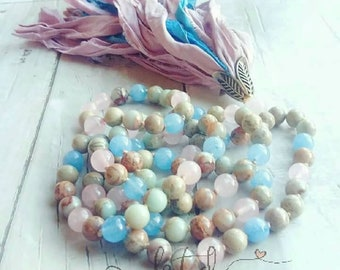Mala-Yoga meditation prayer beads- aquamarine- sari silk- healing crystals- mala necklace- boho- pastel- gift for her- yoga jewelry- yogi