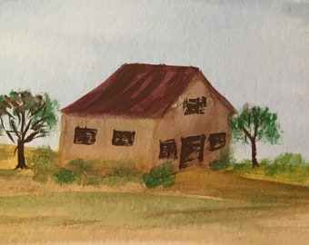 Aceo original water color painting house ready to ship gift ooak art