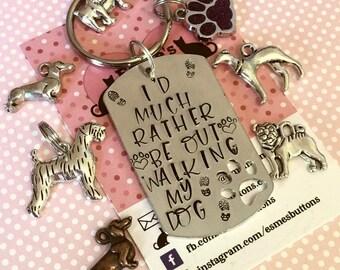 Dogwalking keyring, walking my dog, dog owner gift, doggy gift, Hand Stamped Key Ring, Dog Owner, pet Owner, Pet Lover,