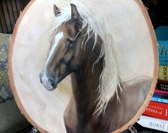 Surfer Dude - Chincoteague Pony Portrait on Wood