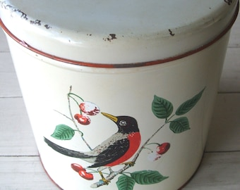 Vintage Metal Canister Maid of Honor Robin and Cherries