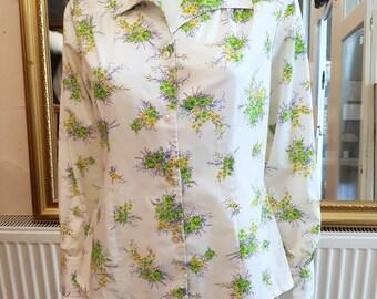 Vintage 70s 1970s Vtg Floral Print Blouse Shirt L 40B