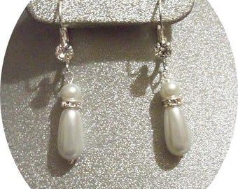 Pearl Bridal Earrings, Pearl and Rhinestone Earrings, Bridesmaid Earrings, Ivory Pearl Earrings, White Pearl Earrings, Bridal Accessories