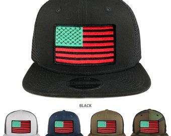 Red Green Black American Flag Patch Snapback Trucker Cap (NE403-RED-GRN-BLK)