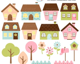 Cute Houses Clipart Set - clip art set of little houses, trees, fences, pastel house - personal use, small commercial use, instant download