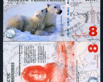Arctic Territories, 8 dollars, 2011, Polymer, UNC, Polar Bears
