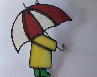 Stained Glass Person with Umbrella