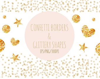 Confetti Borders And Shapes Clipart Vector PNG Glittery
