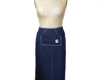 vintage 1990's FIORUCCI denim skirt / blue / cotton / maxi skirt / grunge grungy / 90's style / women's vintage skirt / tag size small