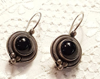 BA Suarti Sterling Silver and Onyx Pierced Earrings Etruscan Tribal Style