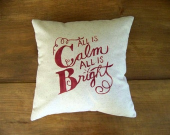 free shipping - all is calm all is bright christmas pillow - silent night - holiday home decor - festive - cushion - christmas pillows - red