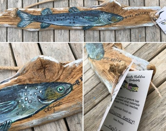 Hand Painted Grey Mullet on Driftwood