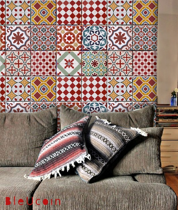Kitchen Wall Tiles In Kerala: Athangudi Vintage Tile/Wall/bathroom/Kitchen/Stair Riser Decal