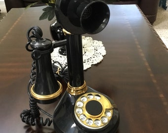 Vintage Candlestick Rotary Dial Telephone 1973 American Telecommunications