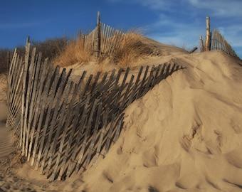 Beach Art, Beach Decor, Coastal Decor, NJ Wall Art, Jersey Shore Photos, Beach Photography, Footprints in Sand, Beach Fences