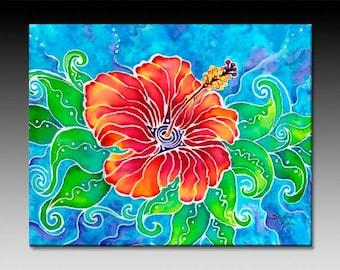Tropical Hibiscus Ceramic Tile Wall Art