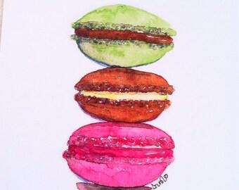 Macarons still life watercolor illustration flat note card