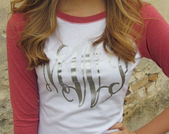Raglan Sleeve Monogrammed Shirt     Variety of Colors Available