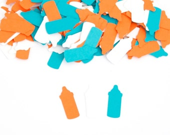 Bottle Confetti, Baby Shower Decoration, Orange and Turquoise Baby Shower Confetti