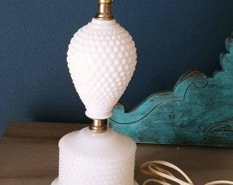 Vintage Milk Glass Hobnail Table Lamp Mid Century