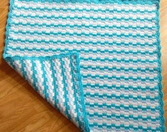 Crochet baby blanket, baby boy blanket, knitted blanket, stroller blanket, infant blanket, lap blanket, new baby gift