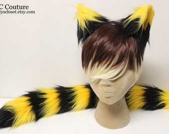 Cheshire Cat Ears and Tail - Yellow and Black Cheshire Cat Costume
