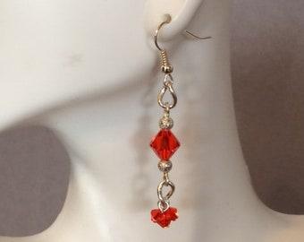 Orange Swarovski Crystal Dangle Earrings #1; Crystal Drop Earrings; Orange Crystal Dangle Earrings; Crystal Cluster Earrings