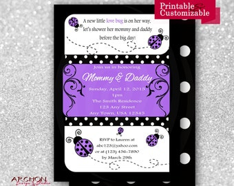Ladybug Baby Shower Invitation with Polka Dot Back - Purple, Black, and White Accented - Lady Bug - Printable & Personalized - A-00019-a