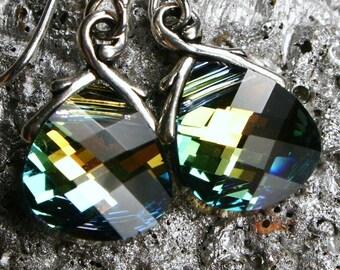 Golden Green Crystal Earrings Sahara Flat Briolette Drop Sterling Silver Petite Dangle Aqua Teal Blue Yellow Gold Metallic Sparkle Sunrise