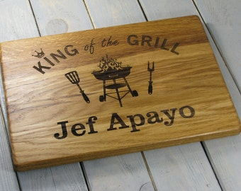 Mens Gift, Fathers Day Grill Board, Grilling, Father's Day Gift, Father Birthday Gift Cutting Board, King of the Grill, Gift for him