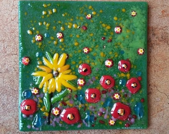 Fused Glass Flowers Accent Wall Tile, Handmade