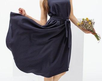 Dark blue tank dress, summer midi dress, cotton dress with belt by Nadi Renardi
