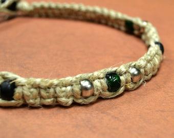 Surfer Phatty Thick Hemp Necklace With Glass Beads Cross Heart Pendant Choker